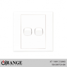 Orange X7 1 Way 2 Gang 10A Switch - BK