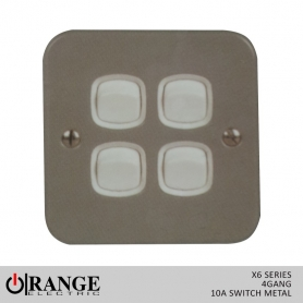 Orange X6 1 Way 4 Gang  10 A Switch Metal
